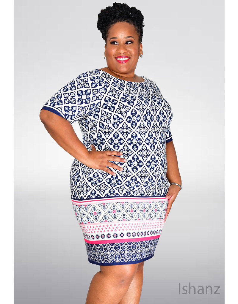 Eliza J ISHANZ- Plus Size Geometric Print Round Neck Dress