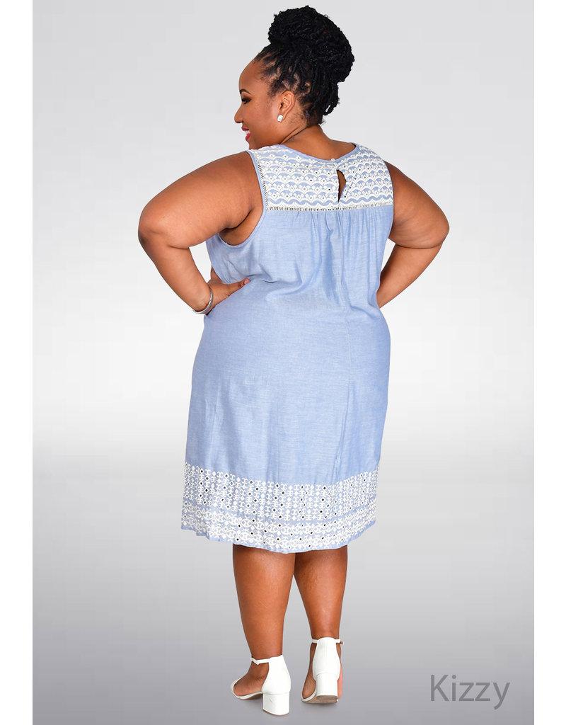 KIZZY- Plus Size Dress with Embroidered Neck Line & Hem