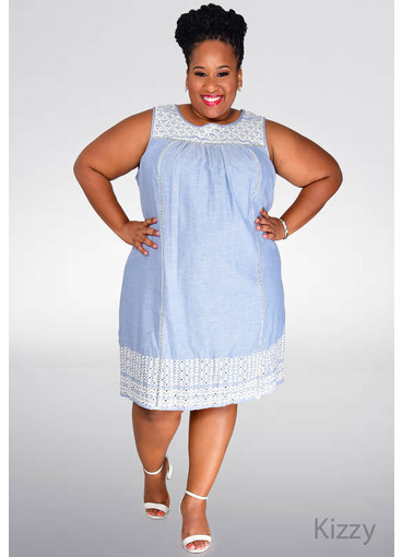 KIZZY- Plus Size Dress with Embroidered Neck Line & Hem
