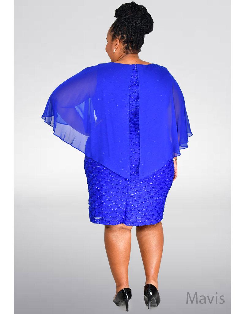 MAVIS- Plus Size Mesh Dress With Chiffon Sleeves