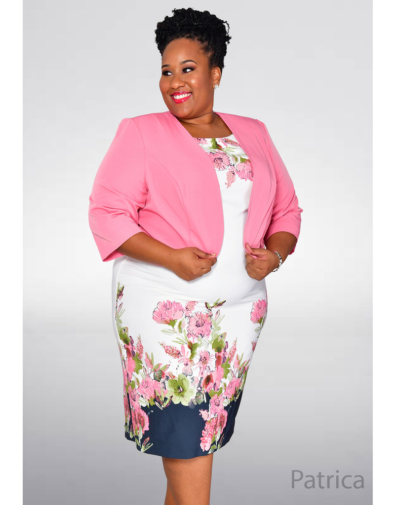 PATRICA- Plus Size Floral Print Dress with Jacket