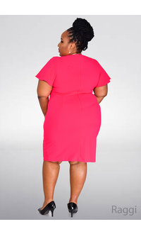 Jessica Howard RAGGI- Flare Sleeve V-Neck Dress with Pleats @ Side
