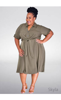 Signature SKYLA- Plus Size Dress with Buttons & Tie @ Front