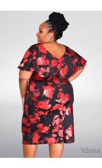JM Studio UDANA-Plus Size Foil Printed Short Sleeve Dress