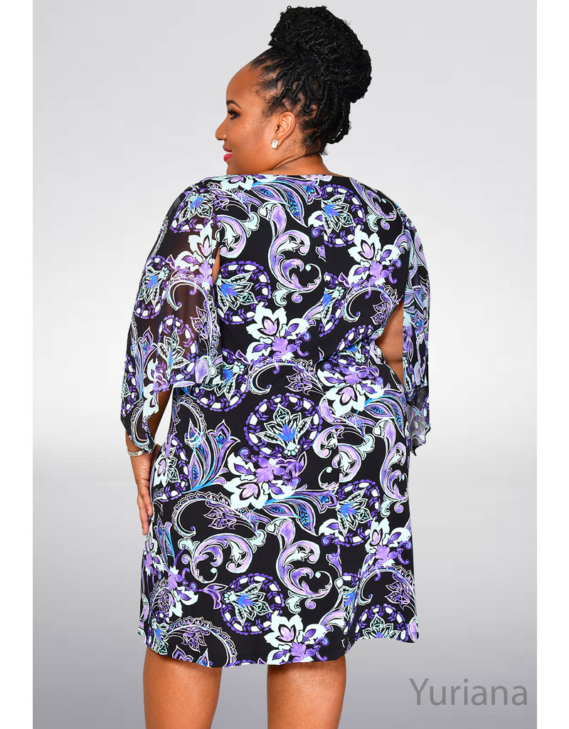 YURIANA- Plus Size Printed Dress with Chiffon Sleeves