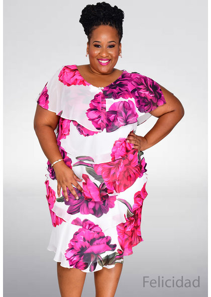 FELICIDAD- Plus Size Floral Layered Dress with Broach