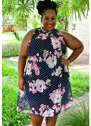 Signature FLAVIA- Plus Size Floral and Polka Dot High Neckline Dress
