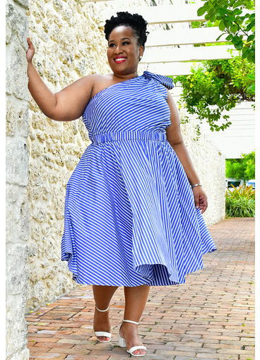 Eliza J KENA- Plus Size Off Shoulder Striped Dress with Bow