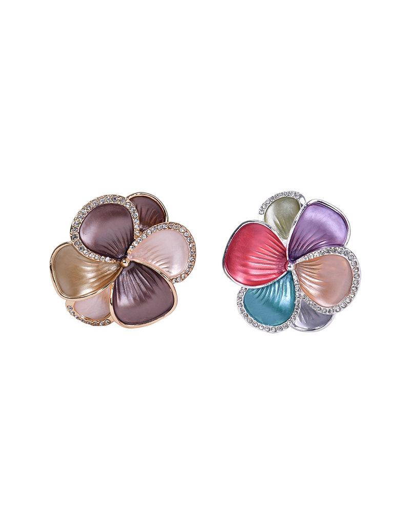 AJ Fashions Magnetic Floral Brooch with Rhinestones