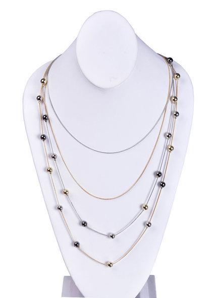 AJ Fashions Metallic Pearl Four Row Necklace Set