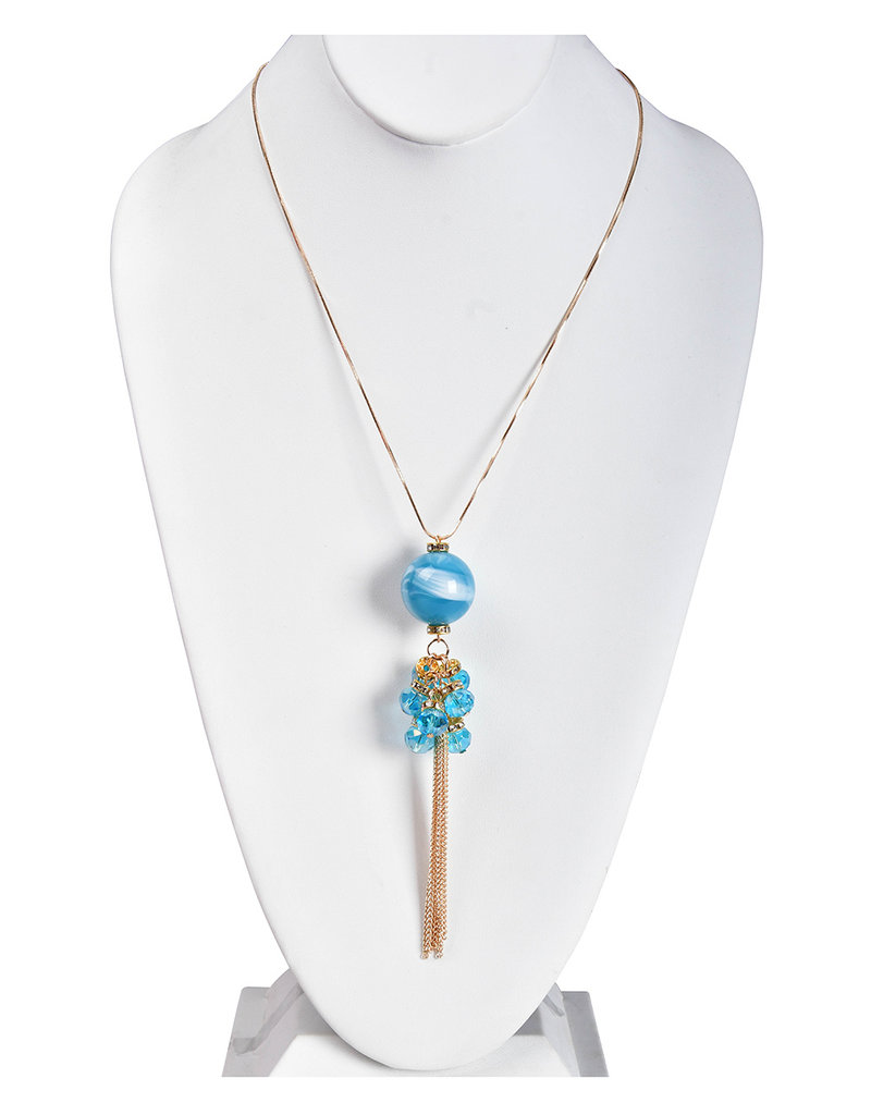 AJ Fashions Long Necklace Set with Ball and Tassel