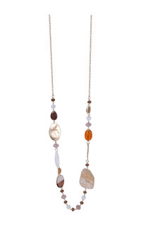 AJ Fashions Long Necklace Set with Flat Multi Stones