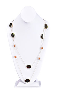 AJ Fashions Long Necklace Set with Oval & Square Stones
