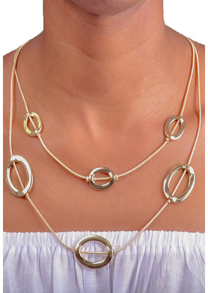 AJ Fashions Two Row Necklace Set with Floating Ovals