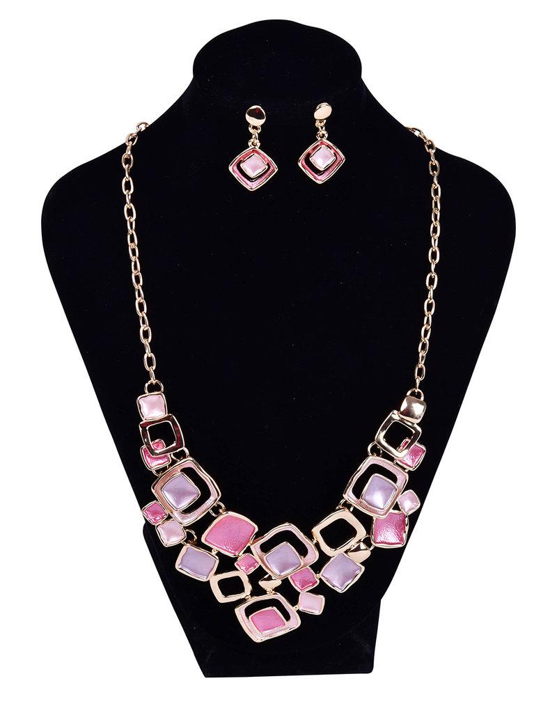 AJ Fashions Multi Colored Square Design Necklace Set
