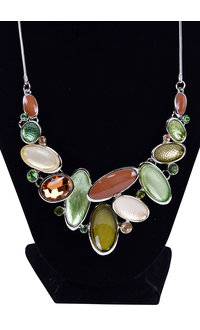 AJ Fashions Fused Bead Necklace Set with Oval Stones