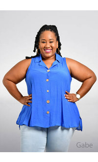 Unique Spectrum GABE- Plus Size Sleeveless Solid Top with Collar
