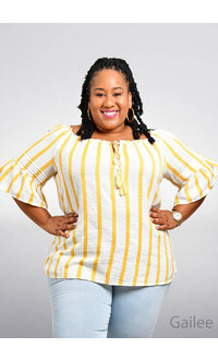 ACE Fashions GAILEE- Plus Size Top with String & Bell Sleeves