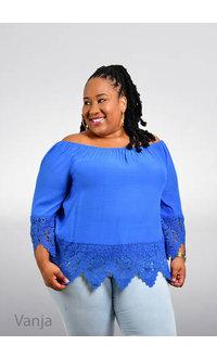 Unique Spectrum VANJA- Plus Size Elastic Neck Top with 3/4 Sleeve & Crochet
