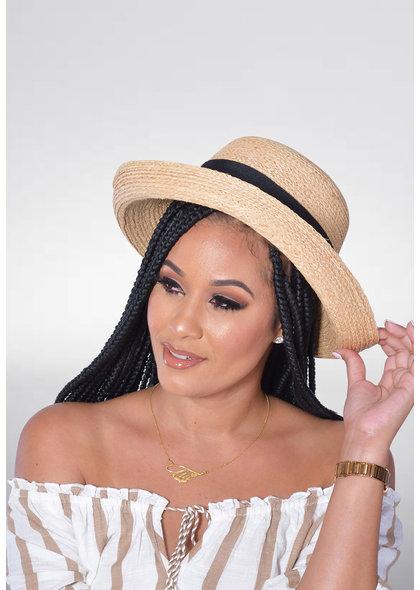 Straw Hat with Turn Up Brim & Black Bow