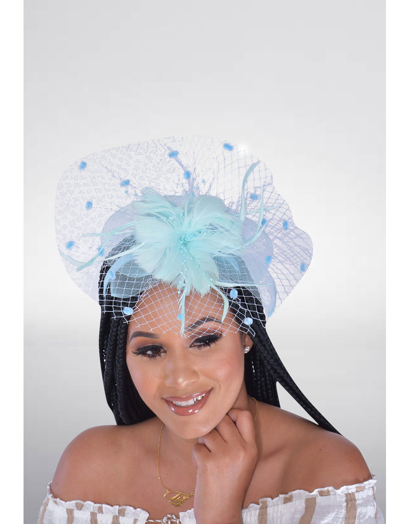 Crin Fascinator with Dot Mesh Netting & Feather Flower