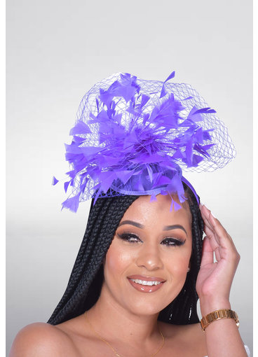 Feather Fascinator with Mesh Net Trim