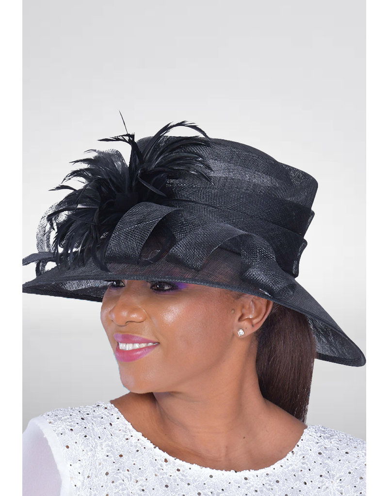 Sınamay Hat with Sinamay Loops & Feathers