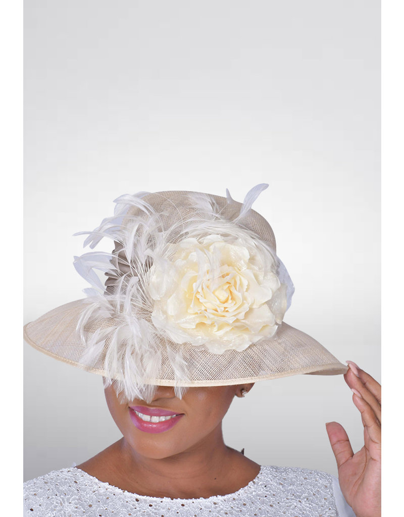 Sinamay Hat with Down Brim & Feathers