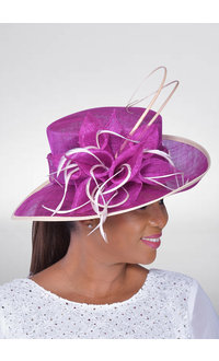Small Brim Sinamay Hat with Bow & Feather Trim