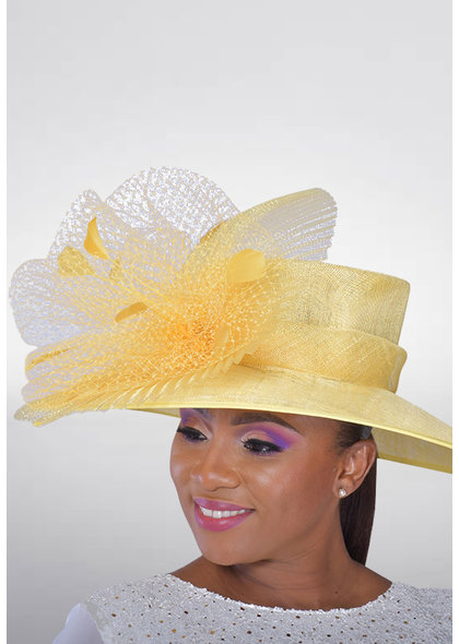 Big Brim Sinamay Hat with Netting & Feather Trims
