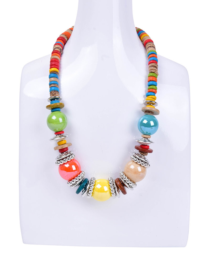 AJ Fashions Wooden Bead Necklace Set with Metallic Disc