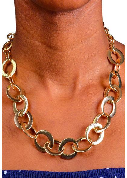 AJ Fashions Single Line Metallic Link Necklace Set