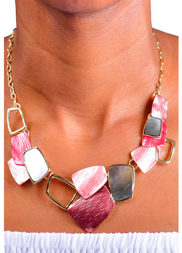 AJ Fashions Multi Shaped Flat Stone Necklace Set
