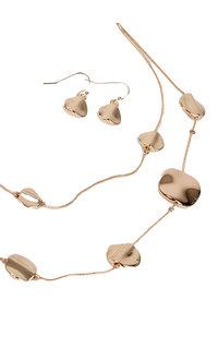 AJ Fashions 2 Row Metallic Necklace Set with Flat Beads