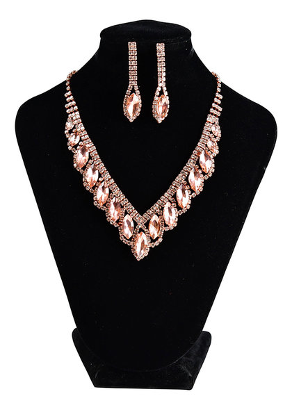 V-Neck Necklace Set with Oval Rhinestones