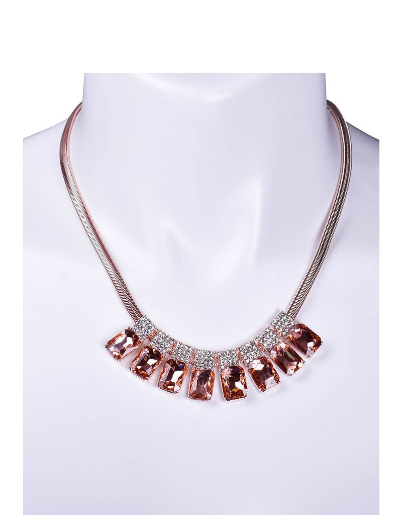 Round Neck Set with 8 Crystal Stones