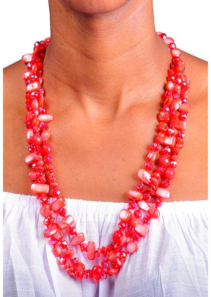 AJ Fashions 3 Row Multi Shaped Beads Necklace Set