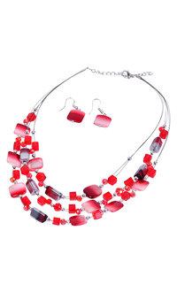 AJ Fashions 2 Tone Floating Beads Necklace Set