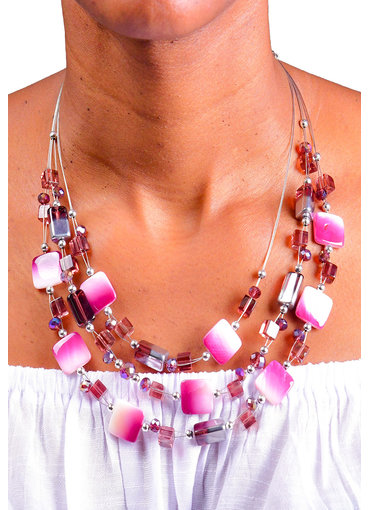 AJ Fashions 2 Tone Floating Beads Necklace Set