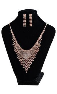 V-Fringe 3 Strand Rhinestone Necklace Set
