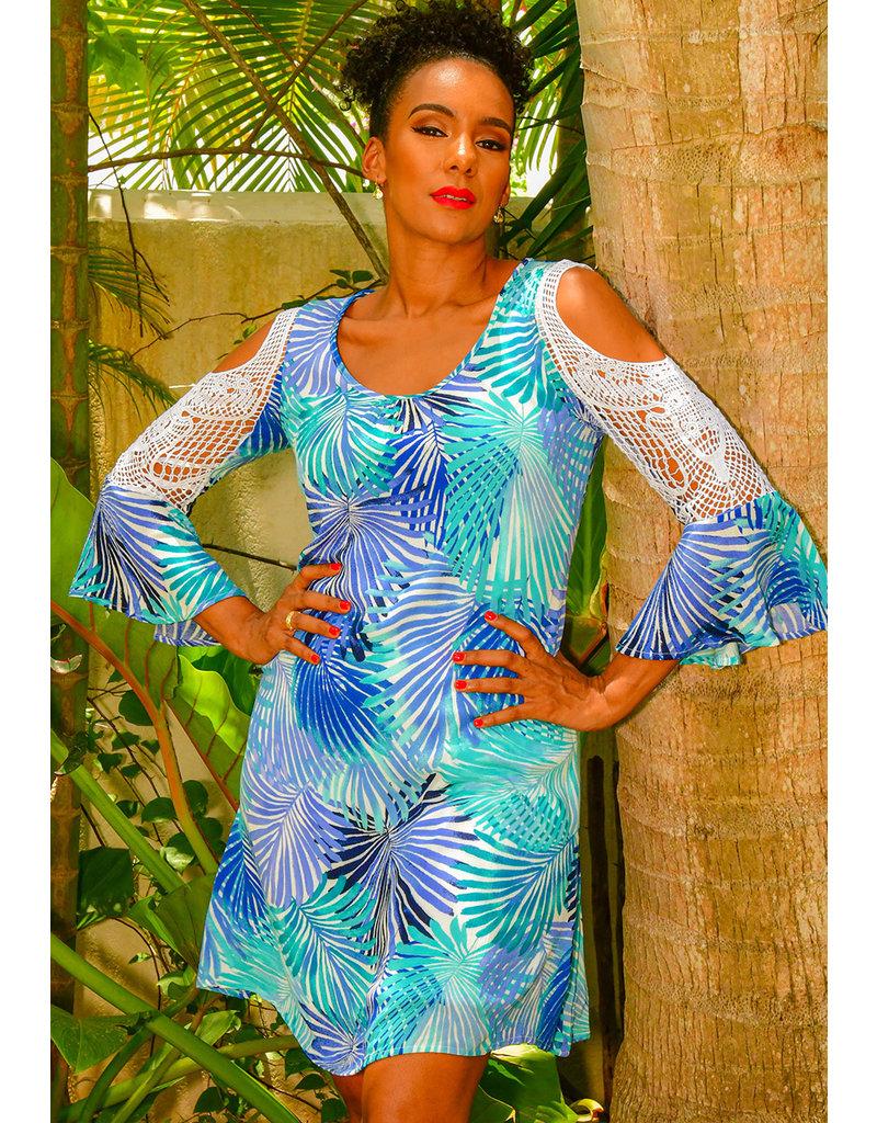 Nina Leonard KENNA- Printed Crochet Sleeve Dress