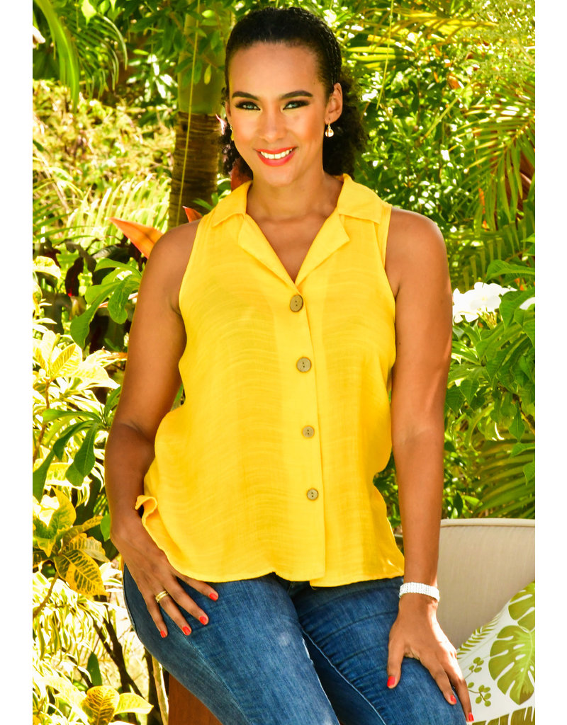 Unique Spectrum GABE- Sleeveless Solid Top with Collar