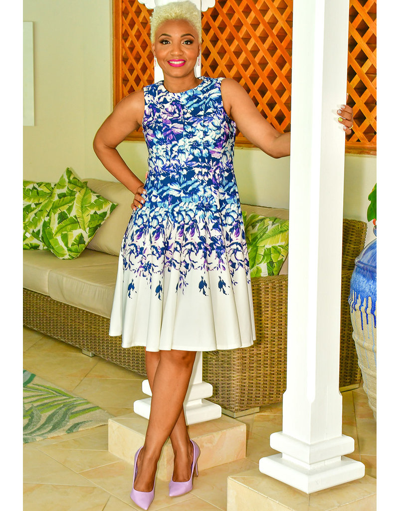 UMIA-Printed Fit and Flare Dress