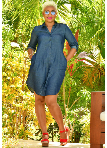 MLLE Gabrielle KASSIDY- Solid Denim Dress with Collar & Pockets