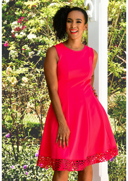UMIRA-  Sleeveless Dress with Laser cut hemline