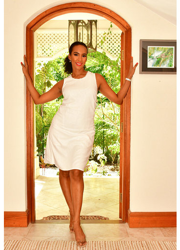 GLAMOUR NEYO- Sleeveless Shift Dress with Pearl Accents
