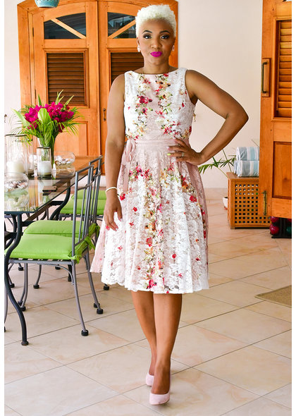 LINDY- Lace floral Fit and Flare Dress