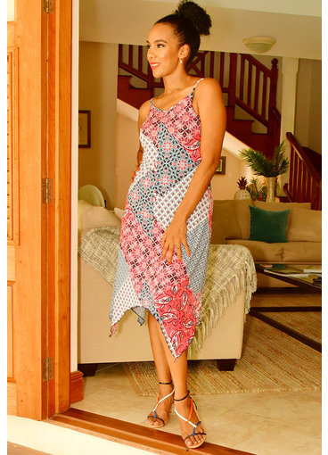 Nina Leonard IASHA- Strappy Print Dress