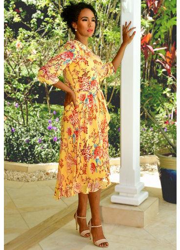 FRETA- Floral Print Ruffle Three Quarter Sleeve Dress