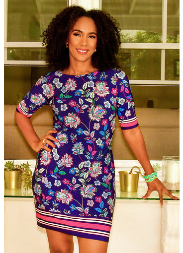 Eliza J IYANA- Printed Three Quarter Sleeve Dress